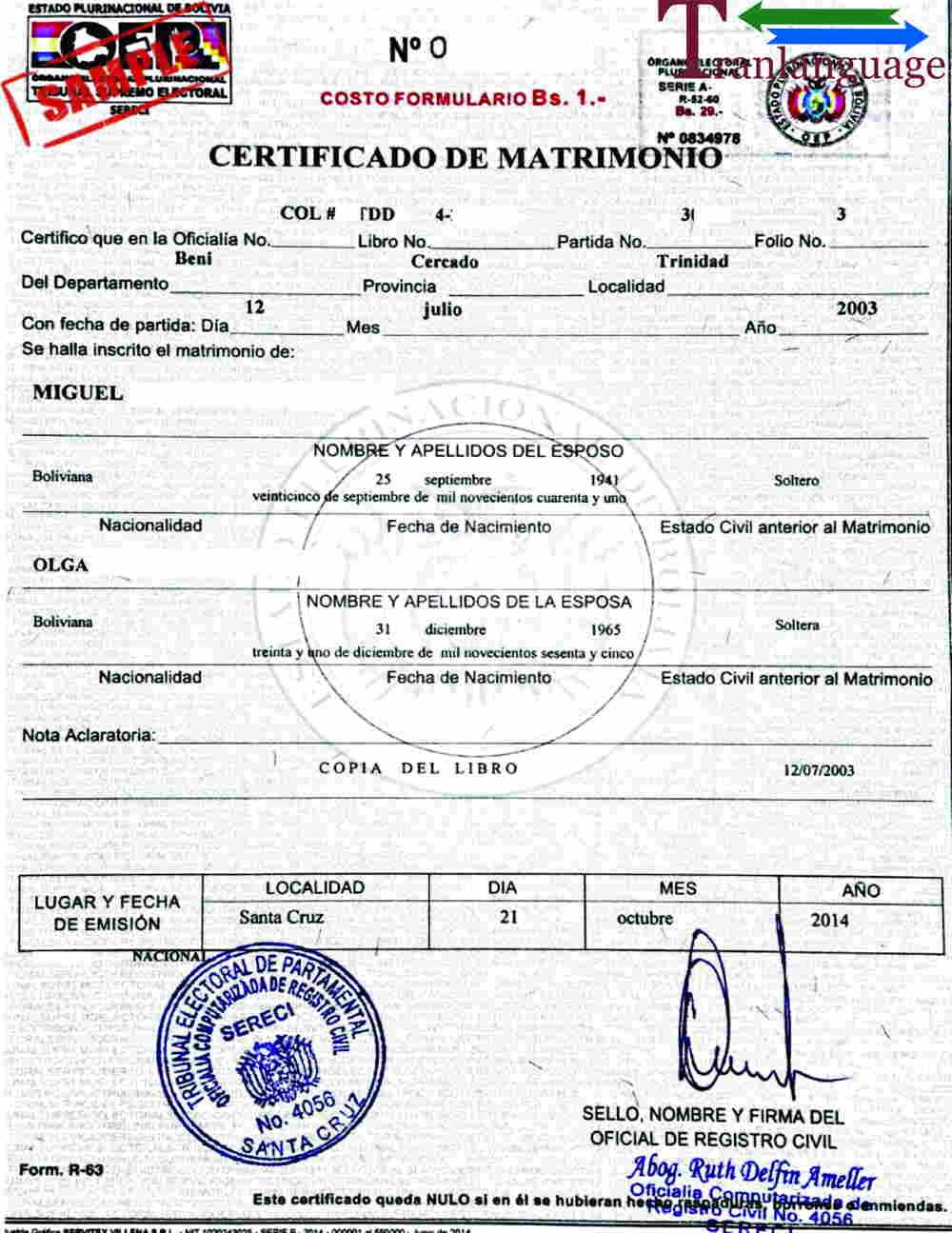 Marriage Certificate Bolivia