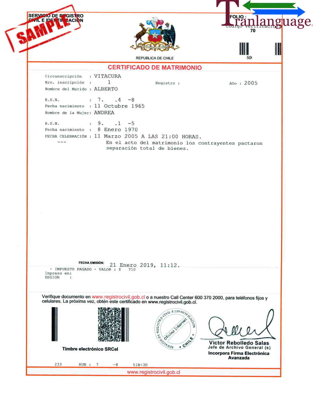 Marriage Certificate Chile