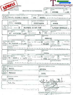 Tranlanguage Marriage Certificate Colombia