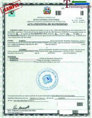 Tranlanguage Marriage Certificate Dominican Republic