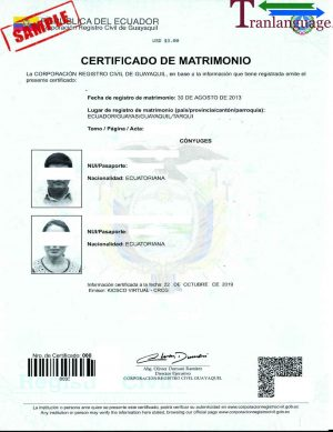 Tranlanguage Marriage Certificate Ecuador