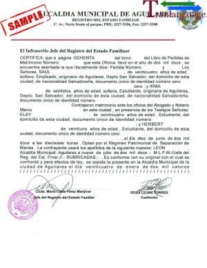 Tranlanguage Marriage Certificate El Salvador