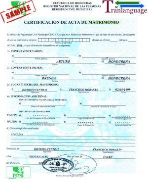 Tranlanguage Marriage Certificate Honduras