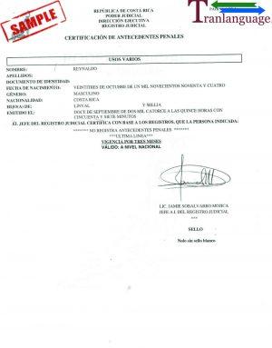 Tranlanguage Police Background Check Costa Rica