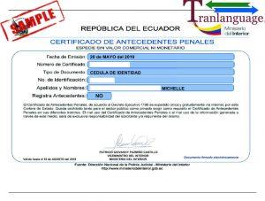 Tranlanguage Police Background Check Ecuador