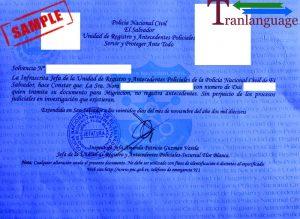 Tranlanguage Police Background Check El Salvador