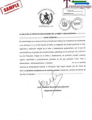Tranlanguage Police Background Check Guatemala