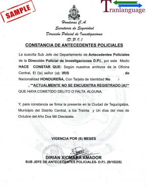 Tranlanguage Police Background Check Honduras