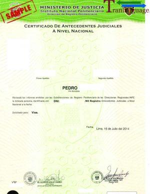 Tranlanguage Police Background Check Peru