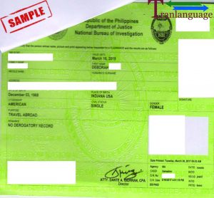 Tranlanguage Police Background Check Philippines